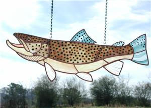 Stained & Fused Glass Brown Trout