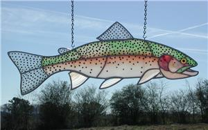 Stained/Fused  Glass Rainbow Trout